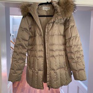 Calvin Klein Gold Puffer Jacket w/ Fur Collar
